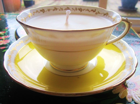 Vintage Tuscan yellow teacup and saucer candle, handmade. Lemon Meringue scented