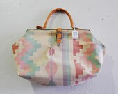 90s Pastel Southwestern Canvas Leather Doctors Bag - AfterDarkVintage