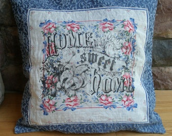 JUST REDUCED! Damask Weave Pillow with Vintage Hanky & Home Sweet Home 18 x 18 with insert,Shabby Chic, Farmhouse Decor