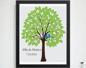 Love Bird Wedding Tree Guest Book Signature Leaves // Wedding HeartLeaf Tree Gift //  Custom Personalized Poster //  16x20 // 100 Guest