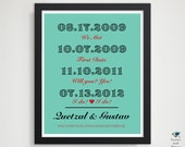 Custom 1st Paper Anniversary Present / Father's Day Gift / Wife / Her /  Him / Husband / Wedding Present / Special Dates Bridal Gift