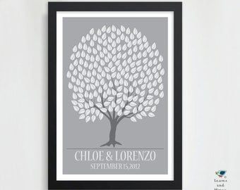 Fall Wedding Tree Signature Guest Book Poster // Wedding Promise Tree // Personalized Wedding Gift // Wedding Art Print// 200 Guest // 20x30