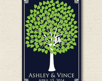 Wedding Gift / Signature Tree Guest Book / Interactive Art / HeartLeaf V Tree / Wedding Personalized Poster / 150 Guest 24x36
