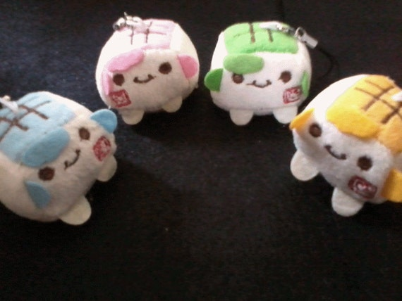 2 Kawaii tofu plushie charms