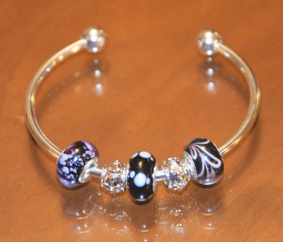Deep Purple Murano Glass .925 Silver Cores on a Cuff Stytle Charm Bracelet and Silver Charms