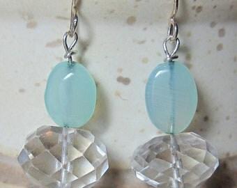 Aqua Chalcedony, Rock Crystal & Apatite Gemstone Beaded Earring