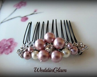 Pink hair comb, Bridal Hair Comb, Wedding Hair Comb, Vintage Style comb, Bridal party accessories, Bridesmaid hair comb