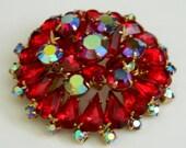 Vintage Juliana style red and aurora borealis rhinestone brooch