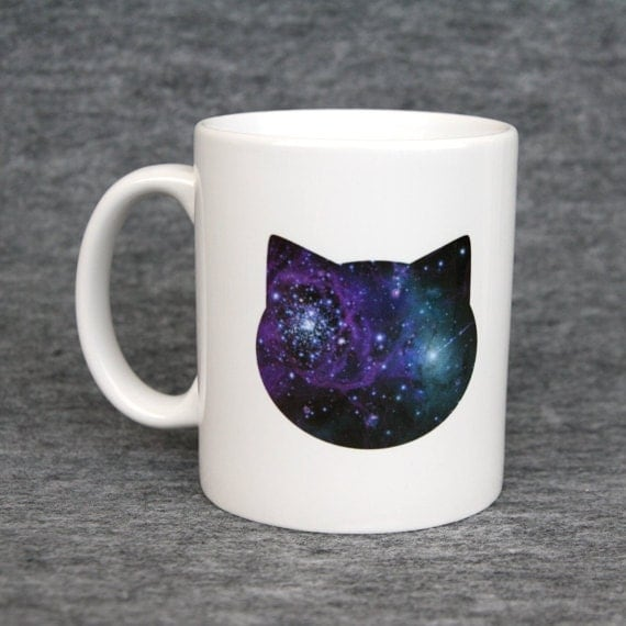Person With Cat Head >> Classic mug with galaxy cat print blue & pink