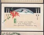 3 Vintage Christmas-Holiday-Gibson-1920's-Postcard Lot (19A)