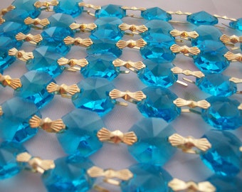 10 yards Turquoise Chandelier Crystals Aqua Blue Crystal Prisms Shabby Chic Cottage Style