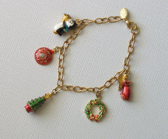 RESERVED FOR DIDI - Vintage Christopher Radko Enamel Charm Bracelet