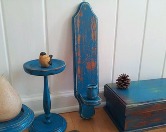 Hand Painted Distressed Wood Vintage Candle Stick Holder Wall Sconce Turquoise, Gypsy Blue, Boho Decor, Shabby Cottage Chic, Meditation