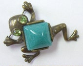 Vintage Brass Turquoise Cabochon Frog Figural Brooch Pin
