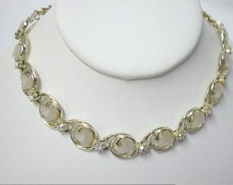 Vintage CORO White Moonglow Thermoset Bird Rhinestone Choker Necklace