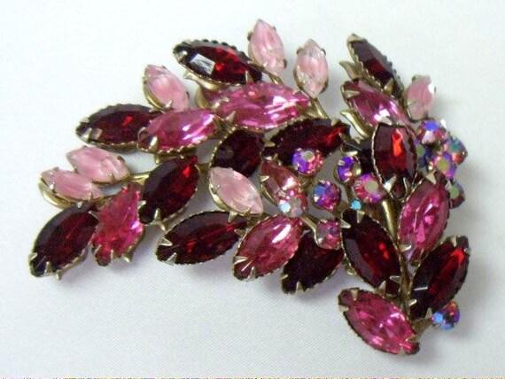 Vintage Juliana Style Red Pink Navette Rhinestone Brooch Pin