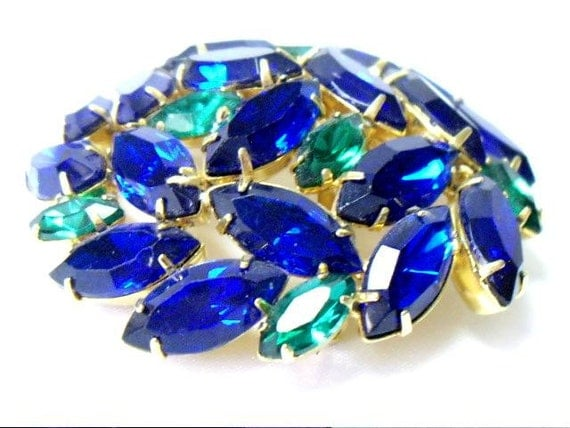 Vintage Blue and Green Rhinestone Domed Brooch