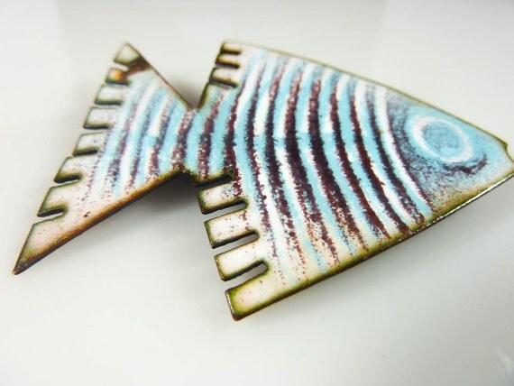 Rare Vintage BALAZS  Blue Striped Enamel Fish Pin