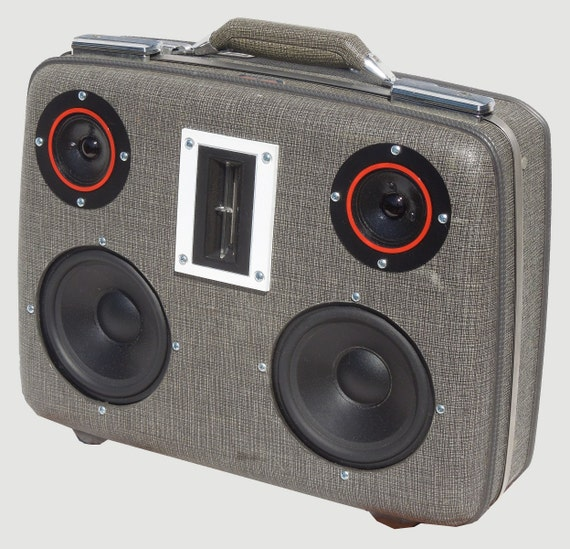"""SOLD Vintage Suitcase Boombox Portable MP3 Player """"Jr. BUMP"""" by Hi-Fi Luggage"""