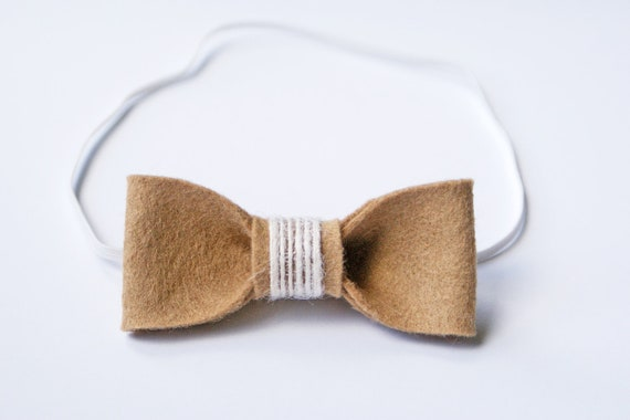 Tan Wool Felt Bow Headband for Girl / newborn/ 0-3 months