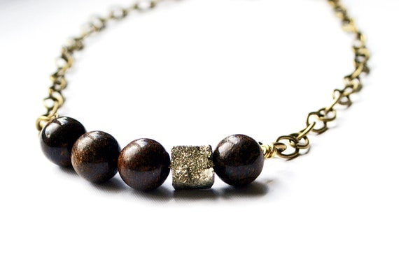 Single Strand Brown Stone Necklace with Nugget on Bronze Chain