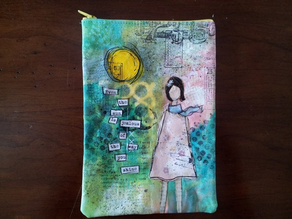 JOURNEY Mixed Media Collaged on Canvas Zipper Pouch - Medium size fits Kindle Keyboard 3g and Nook