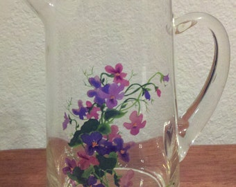 Pretty Floral Glass Pitcher