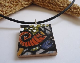 Surreal mini art, wood square pendant, surreal, swirls and lines, hand drawn, inked art, one of a kind jewelry
