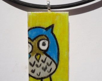 Blue and yellow, hand painted, ooak, wood pendant, cute, minimal, simple and sweet, cyan, adorable