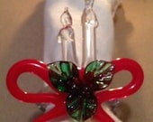 Hand Blown Glass Napkin Holders Christmas Candle with Ribbon and Ivy set of 8