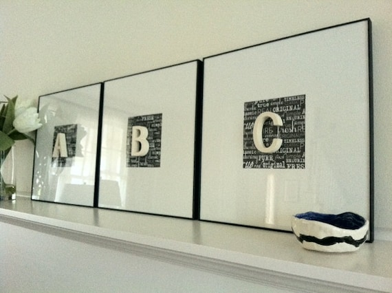 Vintage Letters Wall Decor : Framed vintage porcelain letter wall art perfect by