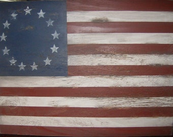 "Distressed American Flag wall decor 1776 style-15"" x 9""/Patriotic/Americana/Red White Blue"