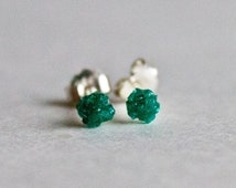 Dioptase stud earrings -  sterling silver green studs - Very RARE