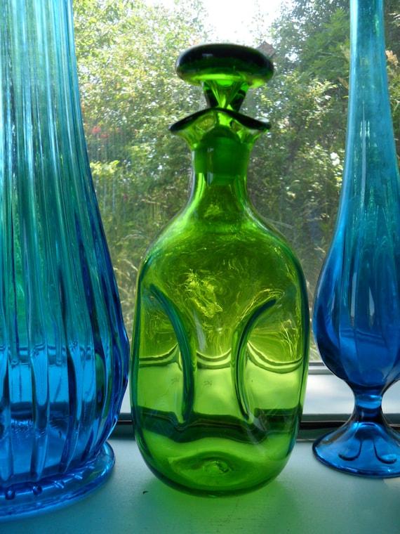 Blenko Emerald Green Glass Decanter