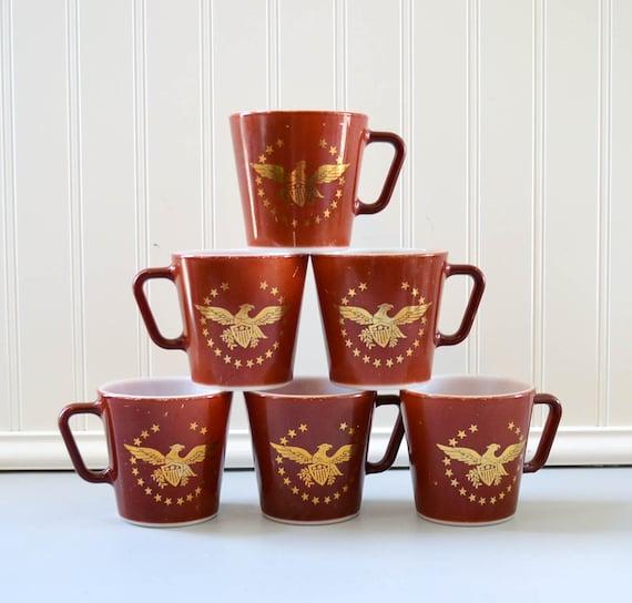 Vintage Pyrex Mugs - Brown and Gold Eagle Set of 6