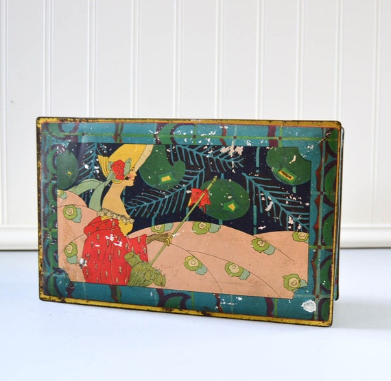 Vintage Art Deco Tin Box - Woman with Parasol by Canco