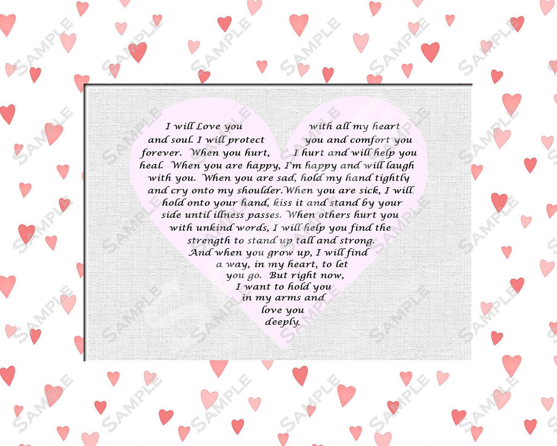 items similar to baby shower gift for girl baptism poem 8 x 10 print