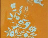 Bird Song lino print (orange on duck egg blue paper)