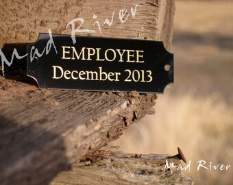 """7/8"""" x 2 1/2 """" Laser Engraved Name Plate with holes and screws, Personalized"""