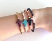 Howlite Sideways Cross Beaded Bracelet