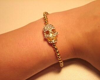 Gold Rhinestone Skull Bracelet