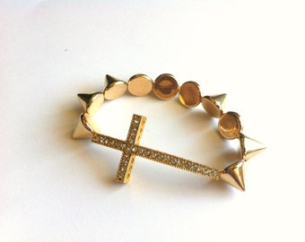 Gold Spike Studded Sideways Rhinestone Cross Bracelet