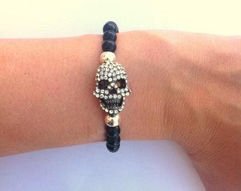 Silver Rhinestone Skull Beaded Bracelet