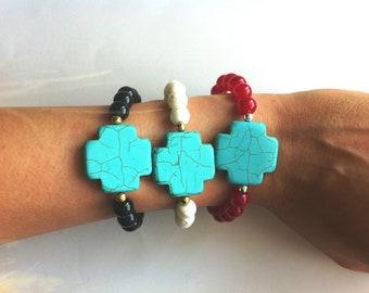 Chunky Howlite Turquoise Cross Beaded Bracelet
