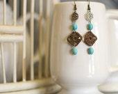 Sm. Chocolate Crochet Square & Bead Earrings