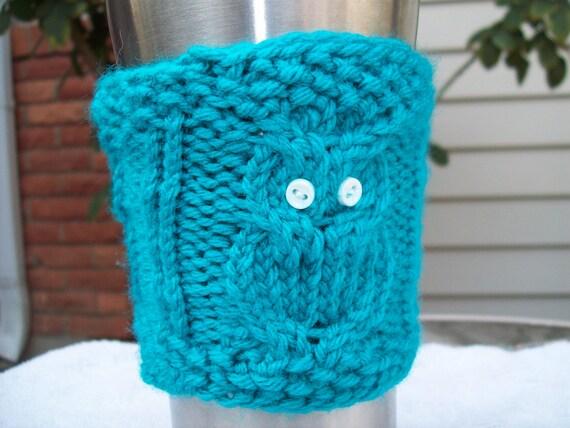 Blue Triple Owl Coffee Cozy