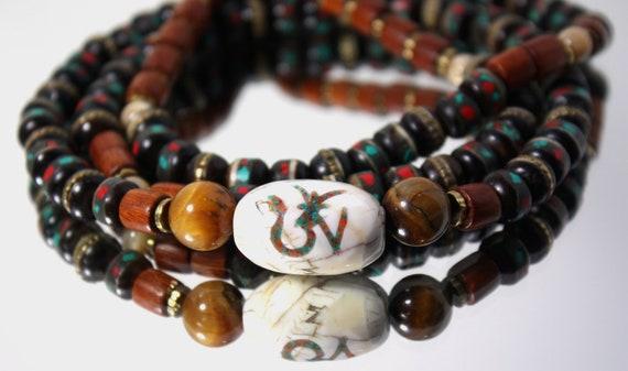 Tibetan Buddhist Mala Beads with Nepalese Beads, Tribal Naga Shell Beads & Inlaid Bone(mala necklace , Yoga Jewelry)