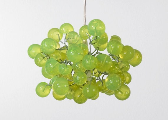 Lemon Green bubbles Light Fixture chandelier  for hall, bathroom, bedroom or children place.