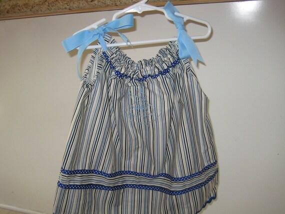 Retro look blue striped SunBonnet Sue Pillowcase Dress