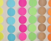 Circle Confetti Garland Streamers - 10 feet Available in a Variety of Colors - Birthday, Wedding, Backdrop, Neon, Rainbow, Decoration